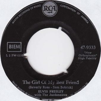 Elvis Presley With The Jordanaires ‎– The Girl Of My Best Friend
