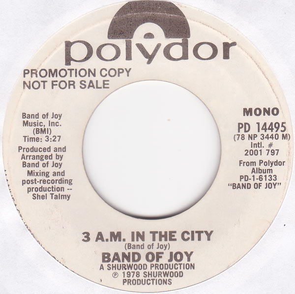 Band Of Joy - 3 Am In The City Promo