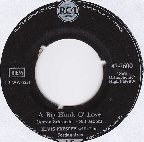 Elvis Presley With The Jordanaires ‎– A Big Hunk O' Love