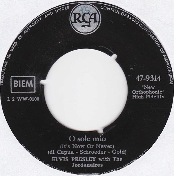 Elvis Presley With The Jordanaires - O Sole Mio (It's Now Or Never)